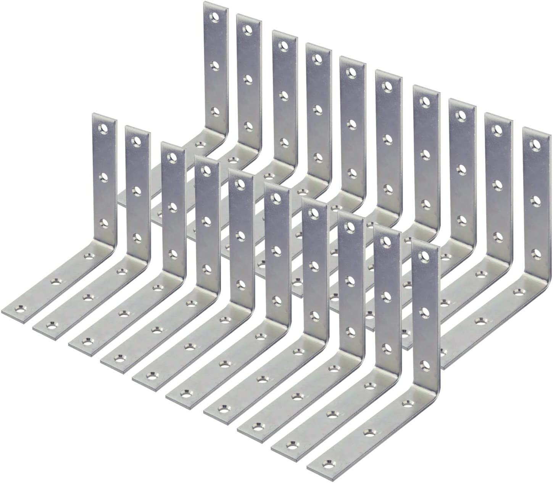Pack of 20 Wideskall 4 inch Heavy Duty Corner Brace Angle Repair Bracket w//Screws