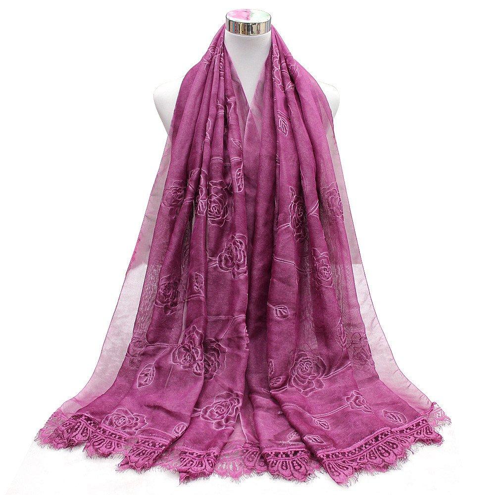 TIANLU Al final de la Bufanda Bufanda rosa de seda seda Emulación Emulación de encaje, morado,190cm
