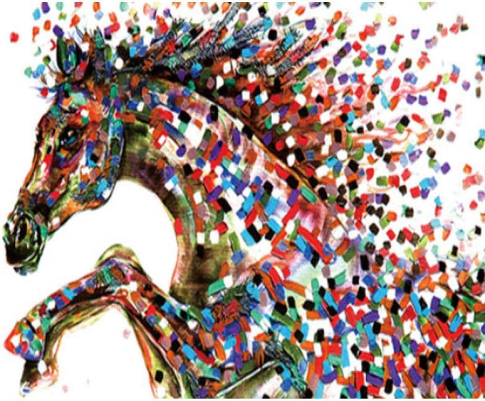 Pintura digital de bricolaje por números Kits de pintura al óleo de caballo cuadrado para colorear Arte de pared Regalo de imagen 40x50cm-Sin marco