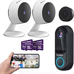 Laview Security Cameras Outdoor Video doorbell Wired with Home Security Cameras Bundle Include 32 GB SD Card Two-Way Audio, Night Vision,WiFi Home Indoor for Baby/pet,Alexa, USA Cloud Service