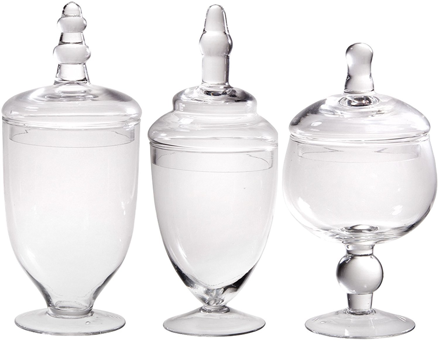 e31e467a0989 James Scott Set of 3 Glass Apothecary Jars with Lid - High Glass Canister -  Home Decor & Party Wedding Centerpiece, Candy Storage Bottles Terra ...
