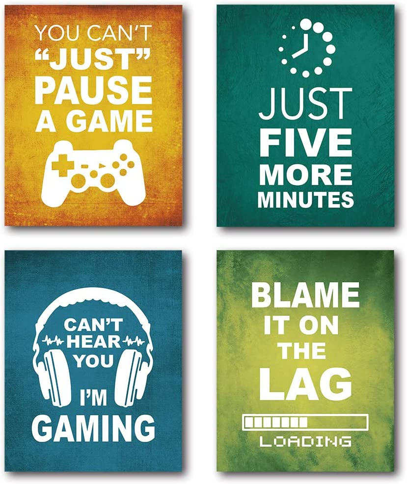 XUWELL Funny Game Decor Wall Art Prints, Video Game Posters for Boys Dorm College Playroom Game Room Decor, 8 x 10 Inch Set of 4 Prints, Unframed