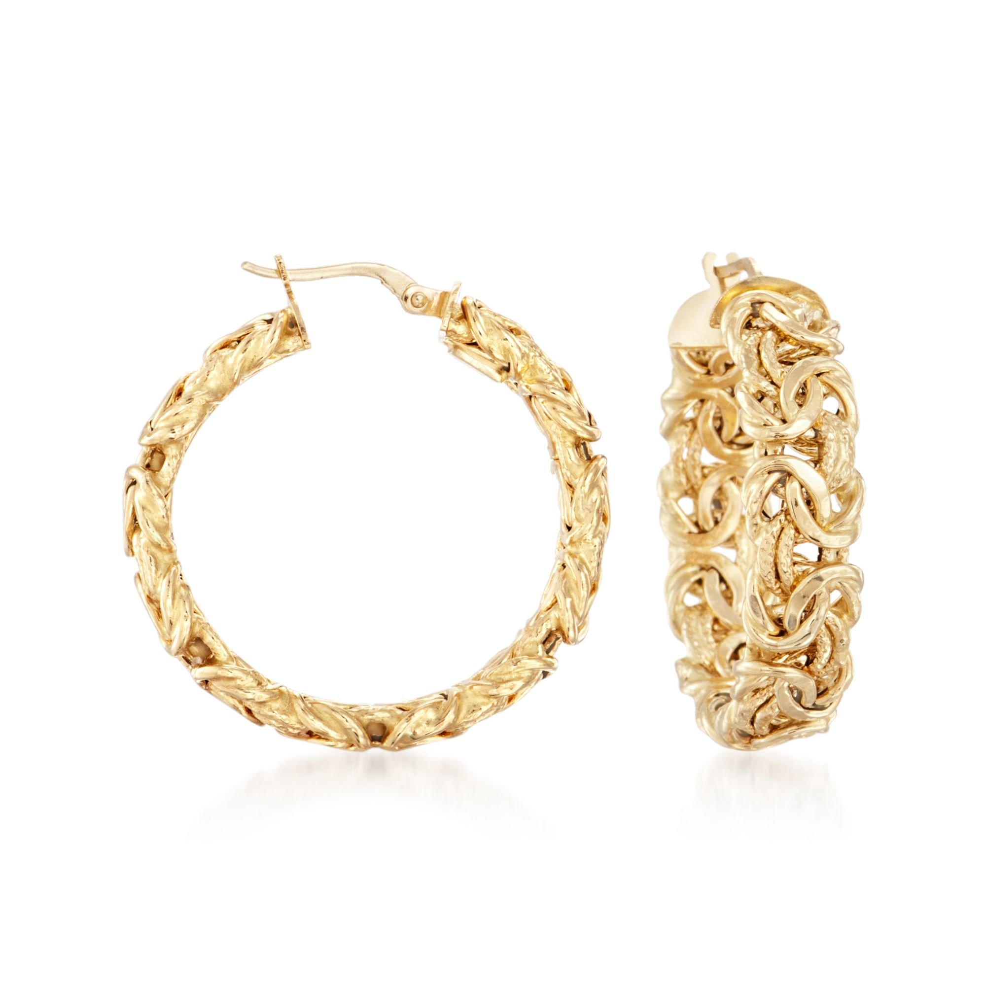 Ross-Simons Italian 18kt Yellow Gold Byzantine Hoop Earring