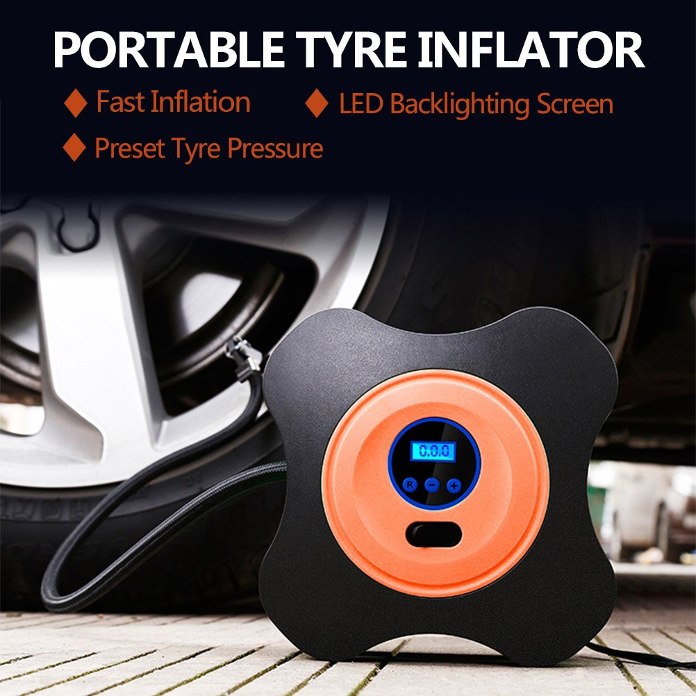 2.8M Power Cord Portable Air Compressor Tyre Pump 3 Valve Adaptors for SUV Bicycle Motorbike Basketball QLOUNI Car Tyre Inflator 12V Auto Tire Inflator with Digital Led Pressure Gauge