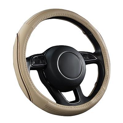 CAR PASS Line Rider Universal Fit Delux Leather Steering Wheel Cover, for suvs,sedans,Vans,Trucks(Beige): Automotive