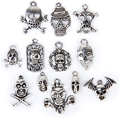 10 Silver Skull Charm Pendants Wholesale UK Jewellery Making