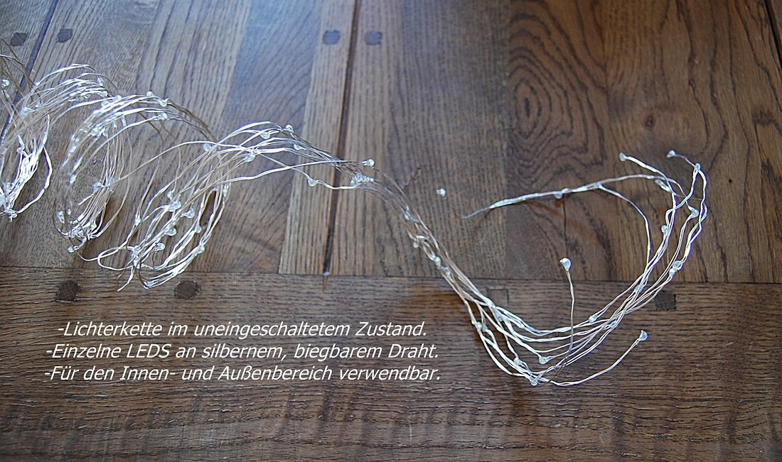 LED Lichterregen Silberdraht, Micro Lichterkette, 180 LEDS, 190cm ...