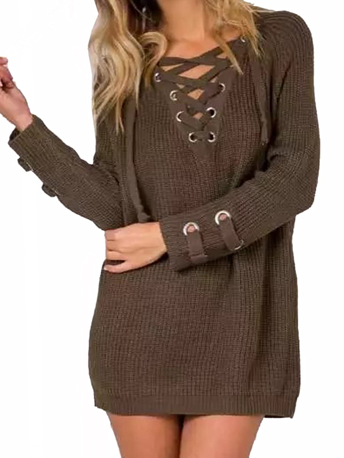 Choies Women Brown Long Sleeve V Neck Lace Up Knit