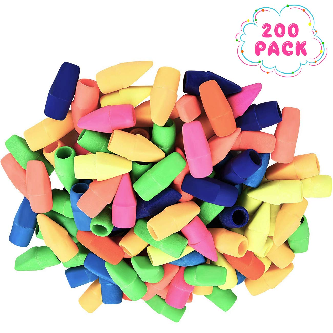 200 Pack Pencil Erasers, Pencil Top Eraser Caps Chisel Shape Pencil Eraser Toppers Assorted Colors, School Erasers for Kids, School Supplies for Teachers