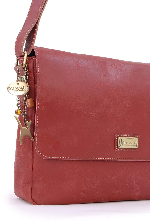 Catwalk kollektion handväskor – damer stora bekymrade läder messengerväska – kvinnors korskroppsorganisatör arbetsväska – bärbar dator/surfplatta väska – SABINE L Röd