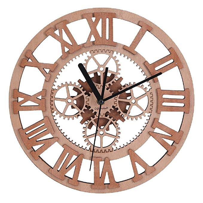 Amazon.com: Giftgarden Gear Wall Clock Round Shaped Wooden Handmade For  Housewarming Wall Decorative Clocks: Home U0026 Kitchen