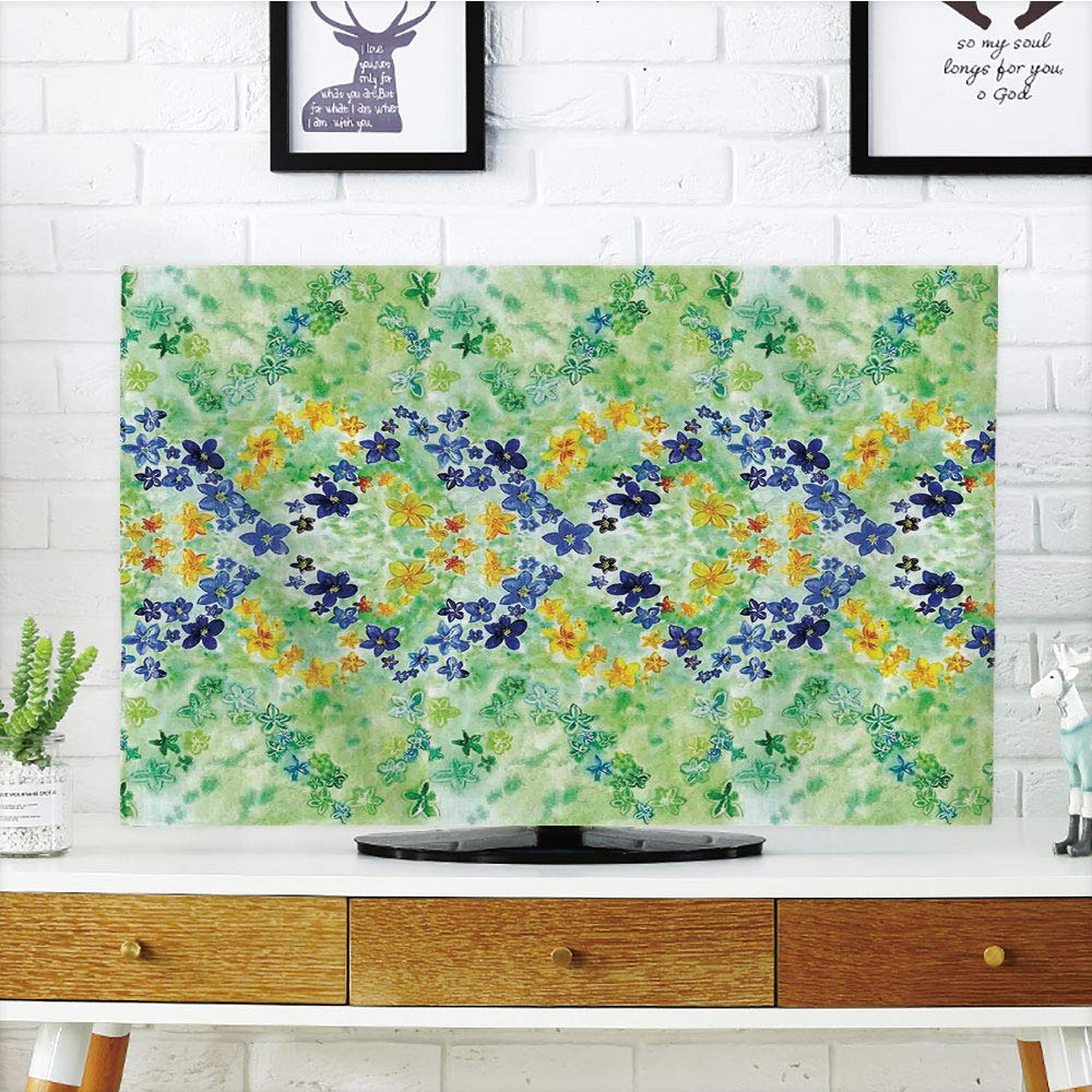 iPrint LCD TV dust Cover Customizable,Watercolor Flower House Decor,Psychedelic Symmetric Interlace Japanese Garden Flowers Image,Green Blue,Graph Customization Design Compatible 50''/52'' TV