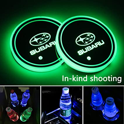 2pcs LED Car Logo Cup Holder Lights for Subaru, 7 Colors Changing USB Charging Mat Luminescent Cup Pad, LED Interior Atmosphere Lamp Decoration Light. ...