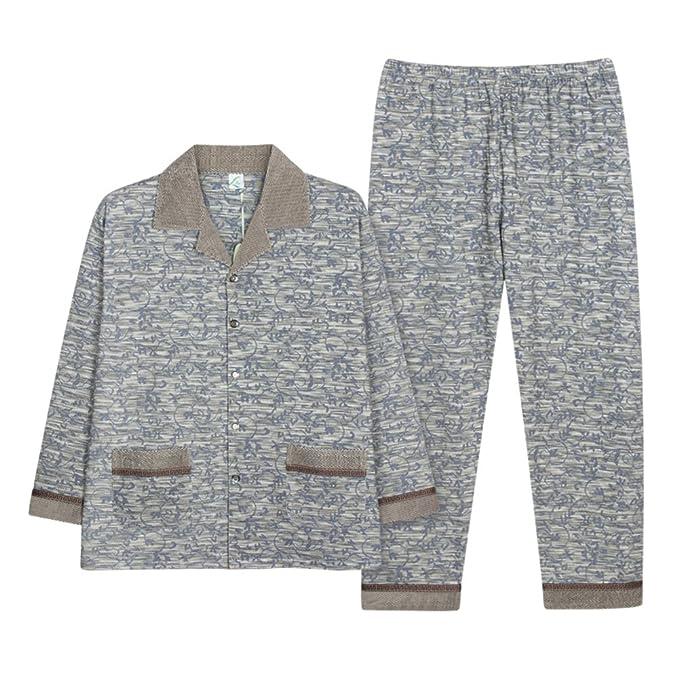 Pijamas para hombre set punto 100% algodón ocio ropa de dormir-Gris M-