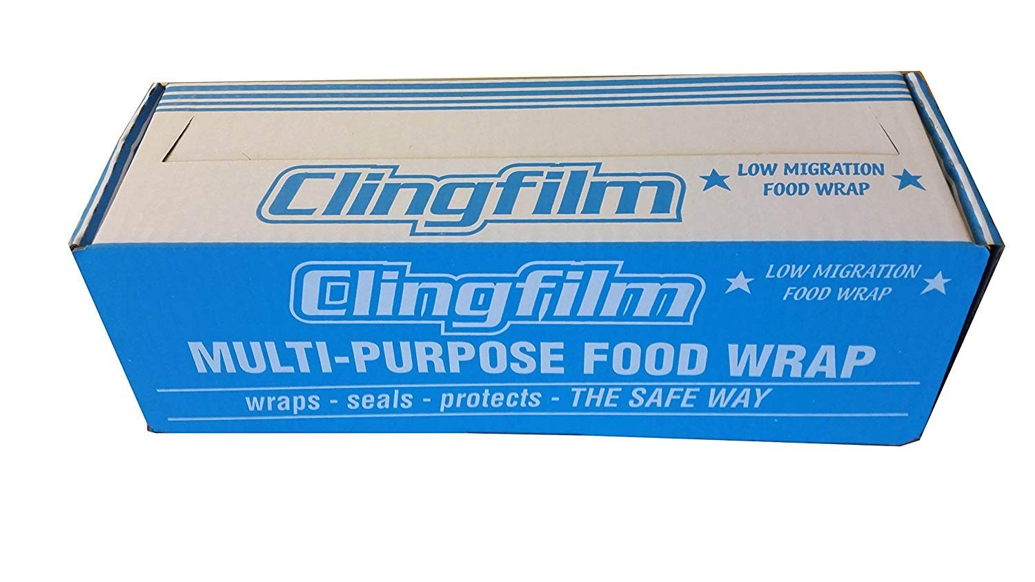 """1 XCLEAR STRONG Catering Cling Film Cutter Box 18/"""" 450mm x 300m Food wrap"""