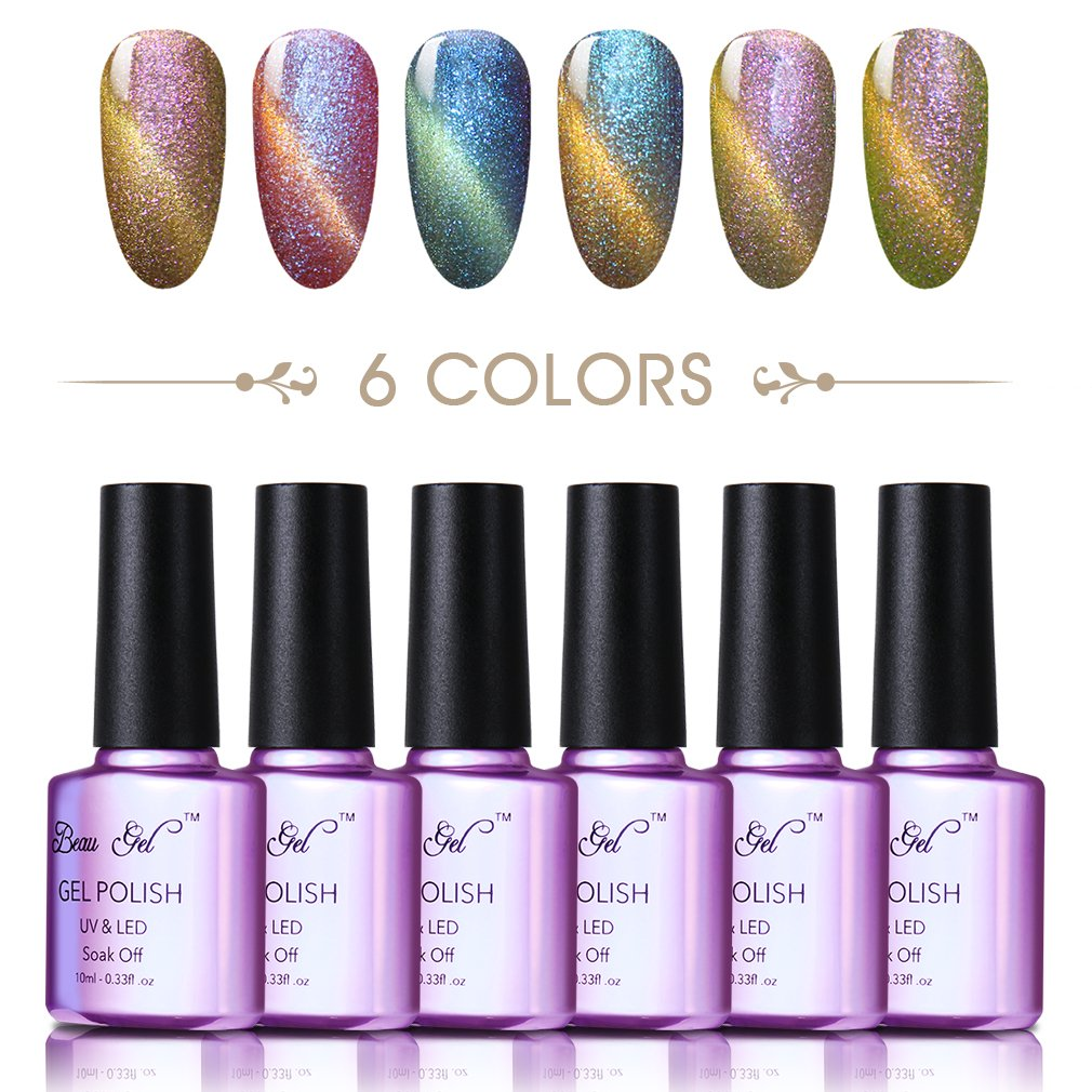 Amazon.com: Color changing cat eye gel nail polish, Beau Gel UV LED ...