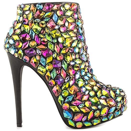 Women's Loquat Multi Colored Jeweled Stones Gems Entrance Platform Ankle Booties