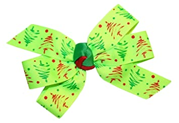 wd2u girls bright lime green christmas tree boutique hair bow alligator clip - Lime Green Christmas Tree