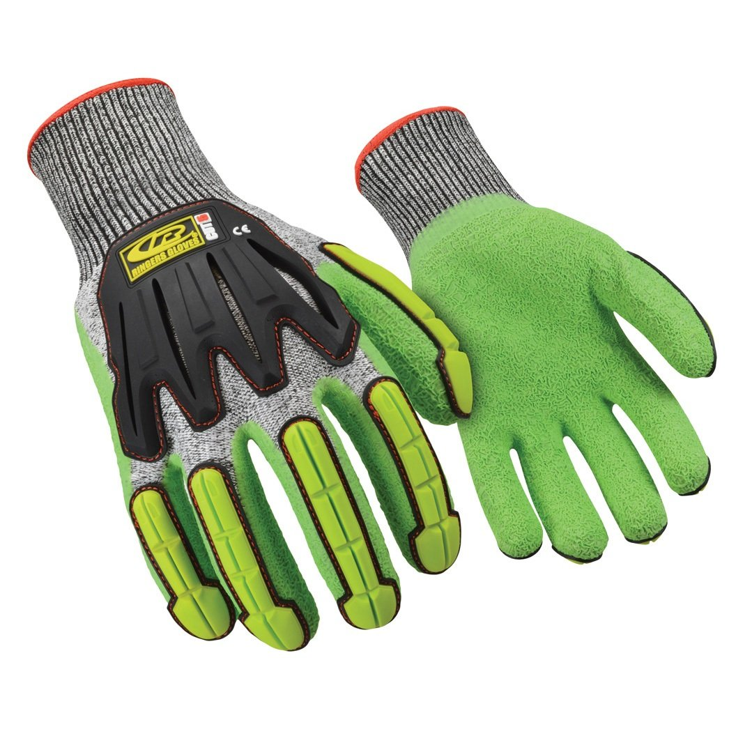 Large Crinkle Latex Dip CE Level 5 Cut Protection Ringers Gloves 064 R-Flex Impact Latex Light Duty Impact Glove