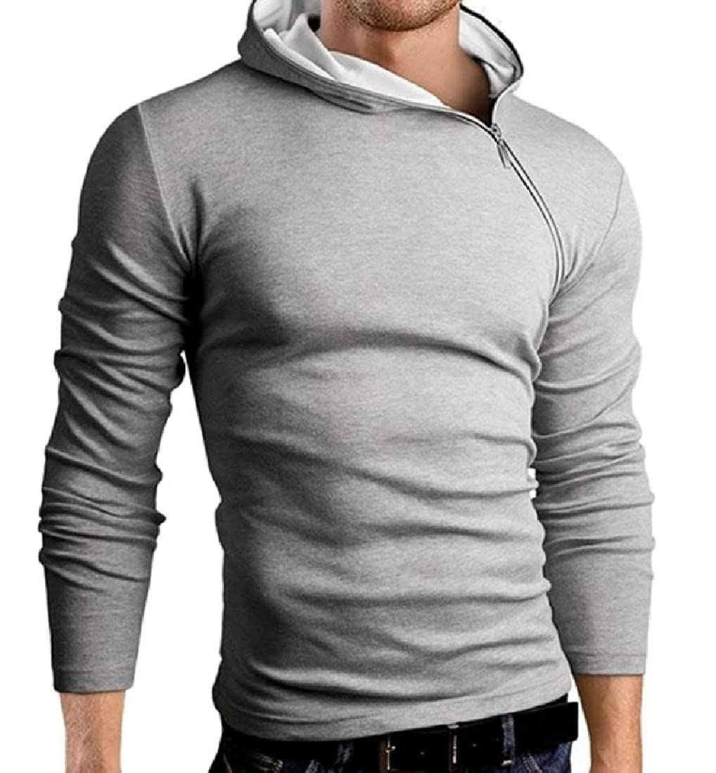 VividYou Mens Hooded Classic Warm Long Sleeve Tee Shirts Tops
