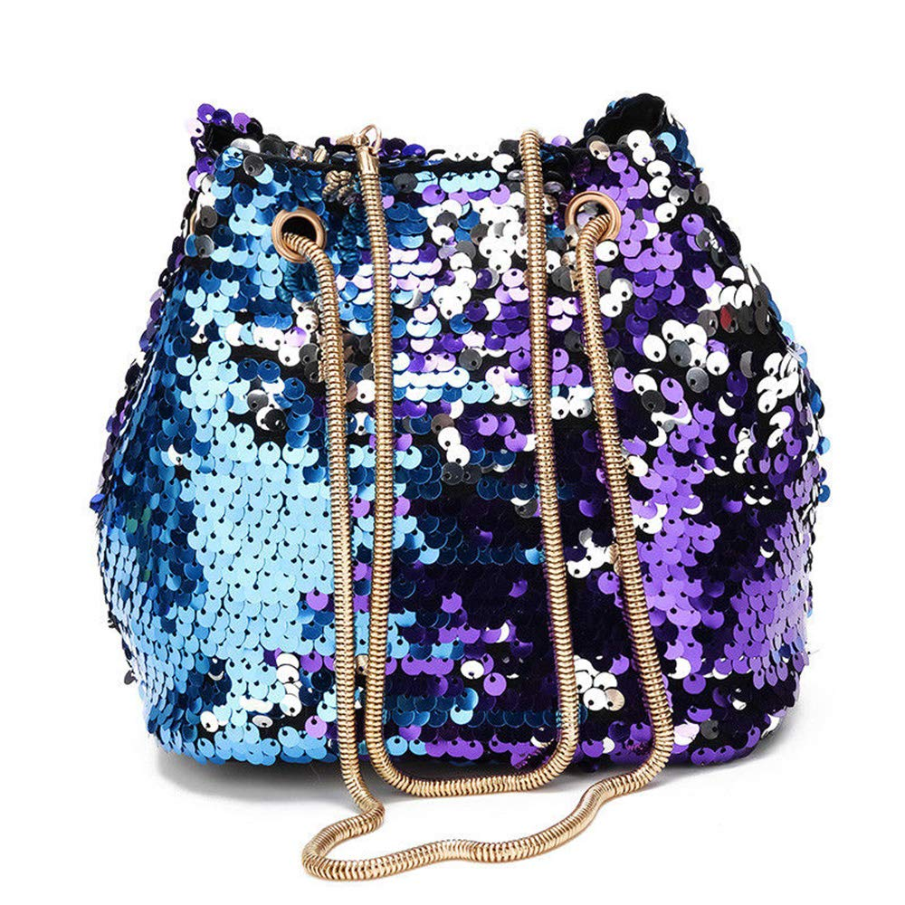 parties commuting Women Lady Sequins Handbag Messenger Crossbody Shoulder Bag Round Tote for weddings dates and shopping