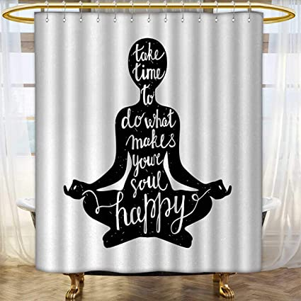 Amazon.com: Yoga Shower curtains Fabric Black Silhouette ...