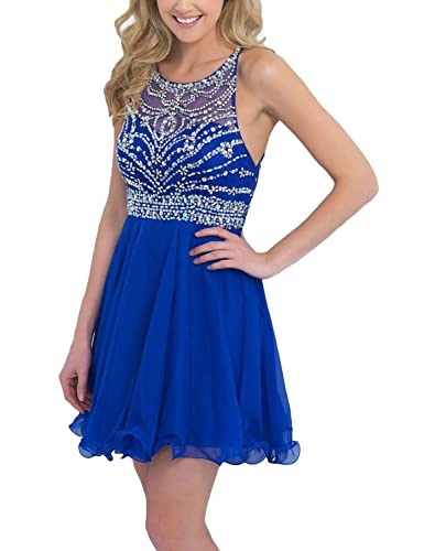 SeasonMall Women's Short A Line Chiffon Blue Prom Dresses