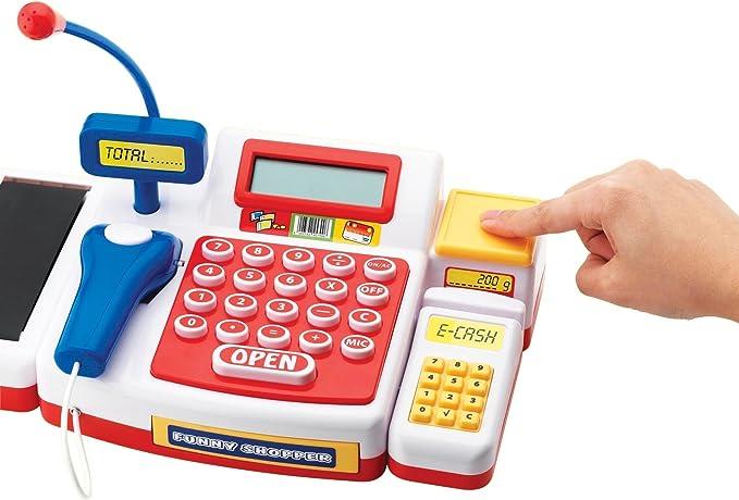 Simba Caja registradora supermercado con escáner y calculadora (18 ...