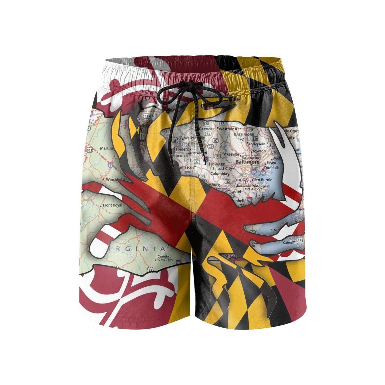 STDKNSK9 Mens Flag of Maryland Boardshorts Beach Shorts