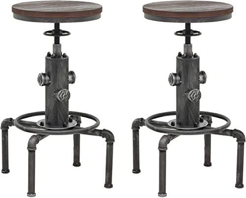 Topower American Antique Vintage Industrial Barstool Solid Wood Water Pipe Fire Hydrant Design Cafe Coffee Silver Industrial Bar Stool 2
