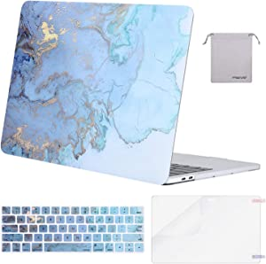 MOSISO Compatible with MacBook Pro 13 inch Case 2019 2018 2017 2016 Release A2159 A1989 A1706 A1708, Plastic Pattern Hard Shell Case&Keyboard Cover Skin&Screen Protector&Storage Bag, Water Blue Marble