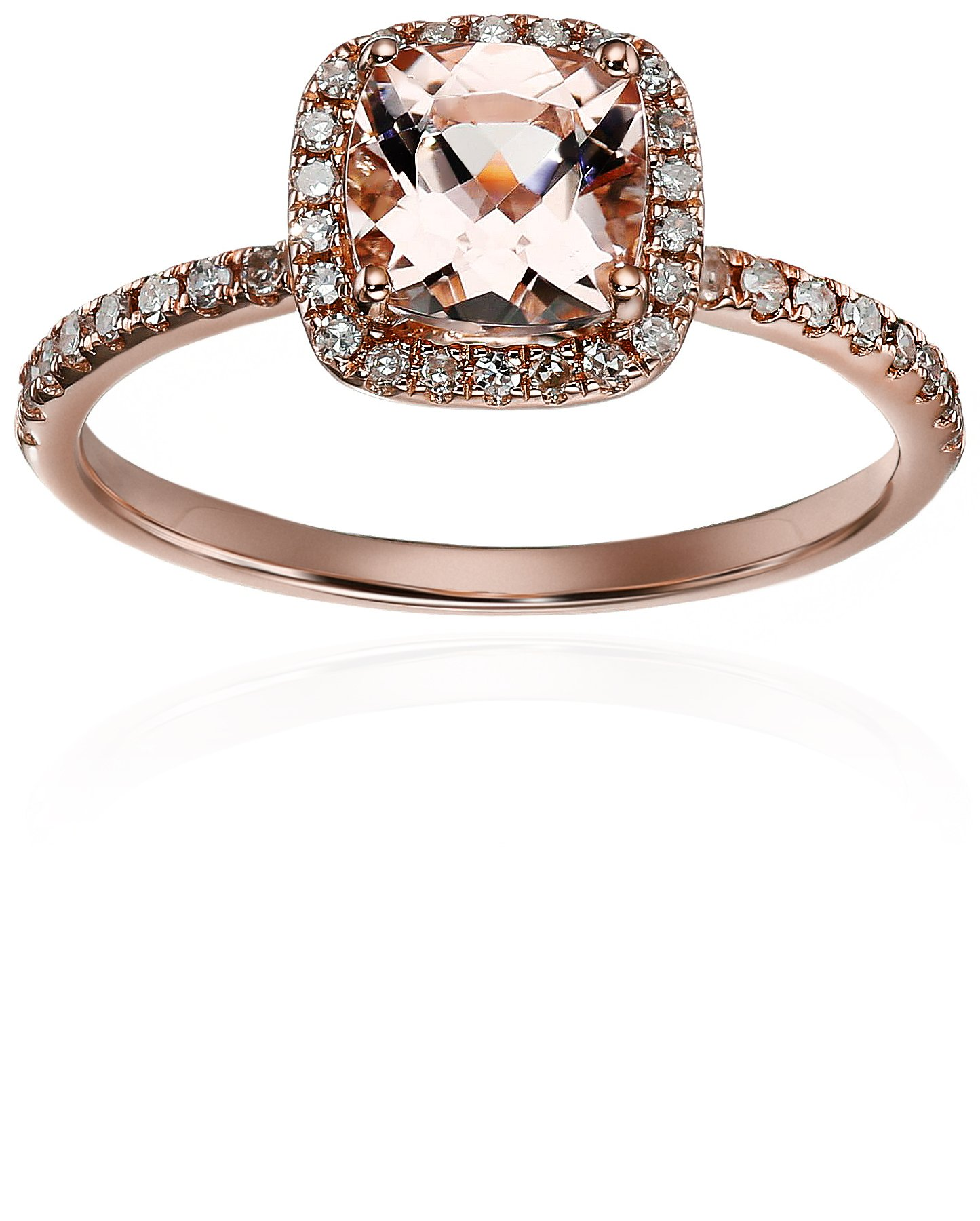 10k Rose Gold 1ct Morganite and Diamond Cushion Engagement Ring (1/4cttw, H-I Color, I1-I2 Clarity), Size 7