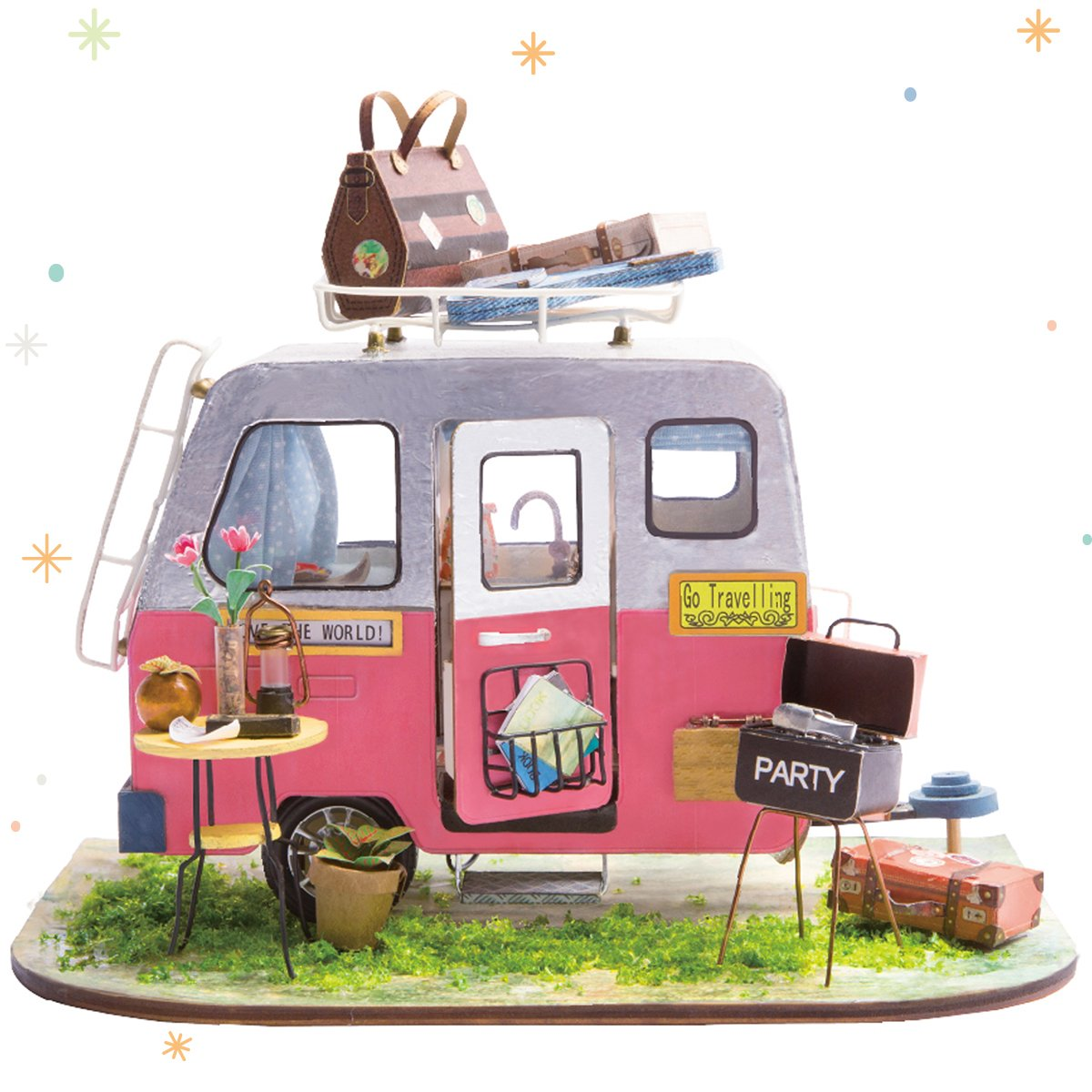 ROBOTIME Miniature Dollhouse Decorations with Accessories Wooden DIY House Projects Best Birthday Gifts for Adults & Children (Happy Camper)