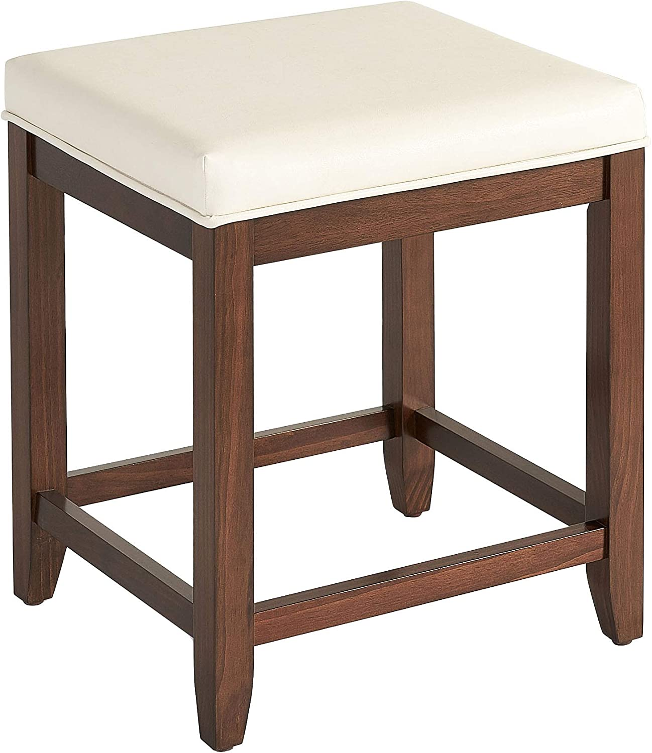 Crosley Furniture CF7007MA-WH Vista Vanity Stool, Mahogany with White Vinyl Seat