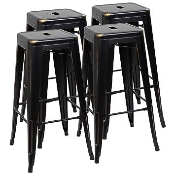 Superb Furmax 30 Inches Metal Bar Stools High Backless Stools Indoor Outdoor Stackable Kitchen Stools Set Of 4 Black Gold Inzonedesignstudio Interior Chair Design Inzonedesignstudiocom