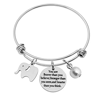 Best Friend Bangle Bracelet Family Gifts Cute Elephant You're braver stronger smarter than you think 1psfw