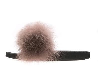 Lea-Marie Damen Pantoffeln mit 100% Echtfell Echtpelz Weicher Fuchfell Pelz Flache Sandalen Indoor/Outdoor Slipper Pantoletten (39, Weiß)