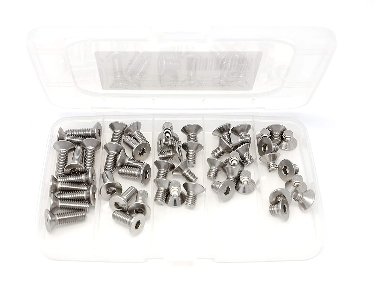 iExcell 50 Pcs M6 x 8//10//12//16//20 mm Stainless Steel 304 Hex Socket Flat Head Cap Screws Bolts Kit