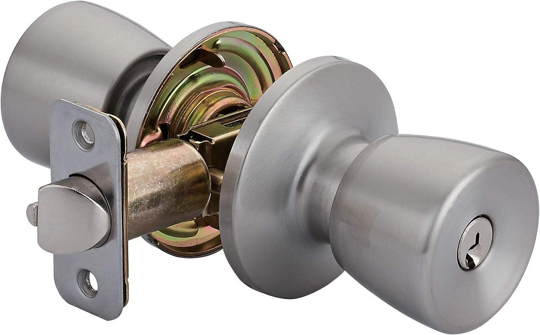 AmazonBasics Tulip Door Knob With Lock, Entry, Satin Nickel