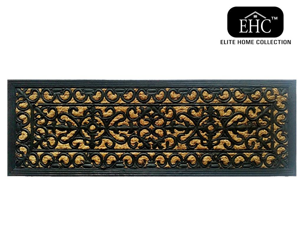 Ehc Victorian Wrought Iron Effect Outoor Or Indoor Non-Slip Panama Rubber Step Door Mat - 75cm x 25cm Elitehousewares