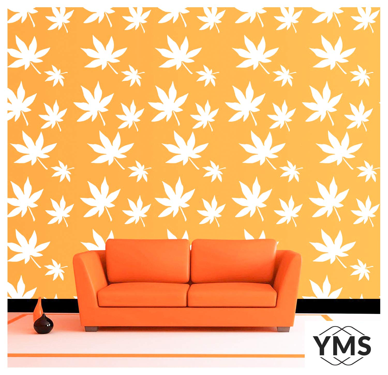 YMS Chestnut Pattern Reusable DIY Wall Stencils for Home Wall Decor (PVC,  15-inch X 15-inch)