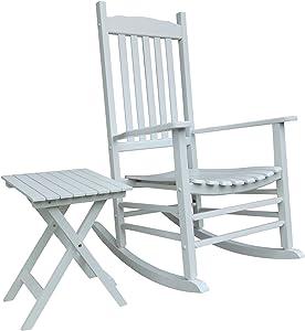 Rocking Rocker - S001WT White Porch Rocker with Side Table - Set of 2 pcs Good Price!!!