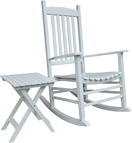Rocking Rocker – S001WT White Porch Rocker with Side Table – Set of 2 pcs Good Price