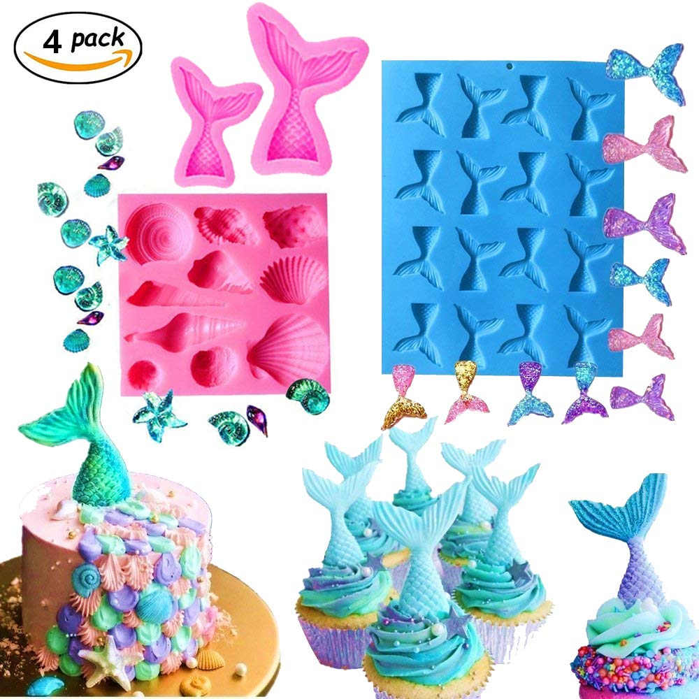 (Set of 4) JeVenis Mermaid Tail Mermaid Silicone Fondant Mold for Cake Decoration Chocolate Candy Mold Soap Mold Baking Tool Jello Mold Cupcake Topper Ice Tray (4 PCS)