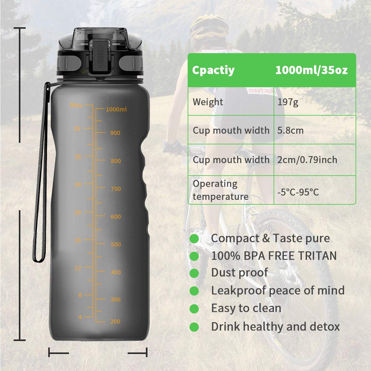 BPA Free with Filter /& Lock Lid Drink Bottles for Outdoor Cycling Fitness Number-One Sports Water Bottle 36oz//1000ml Leakproof Motivational Water Bottle Fruit Infuser Hiking Camping Yoga-Grey
