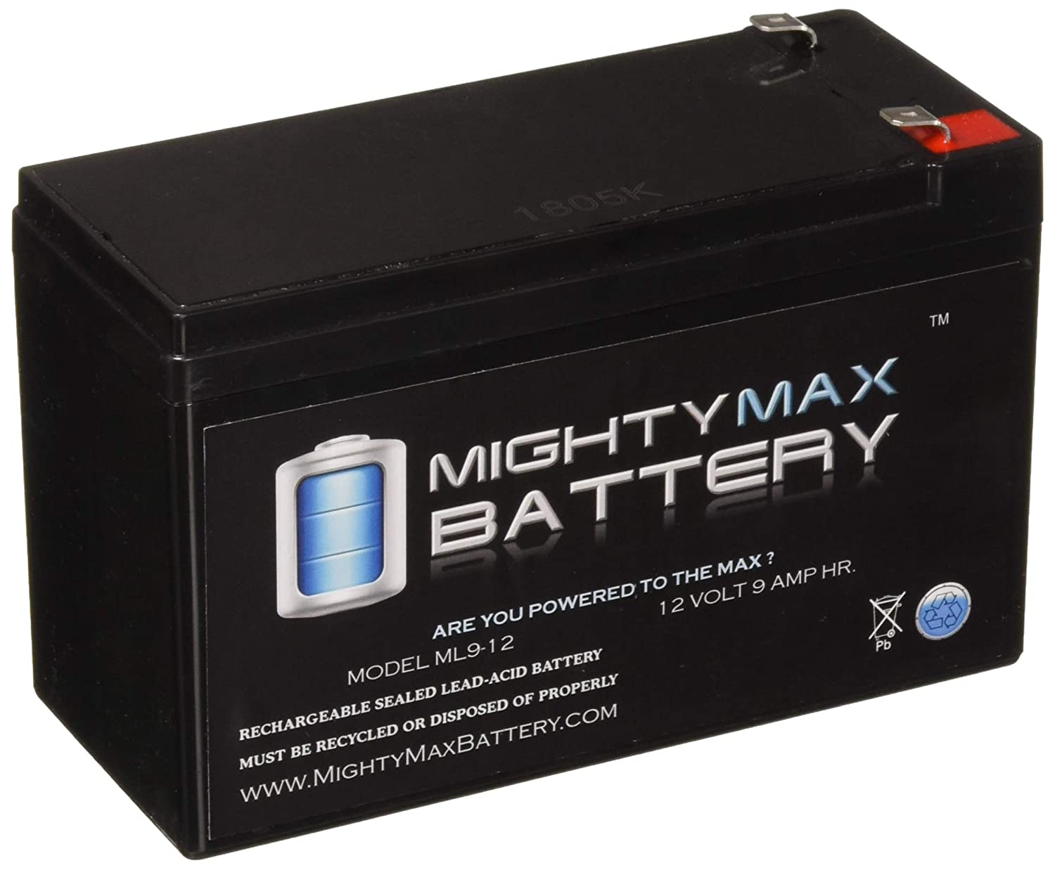 ML9-12 - 12 V 9 Ah Rechargeable SLA Battery - Mighty Max Battery Brand Product