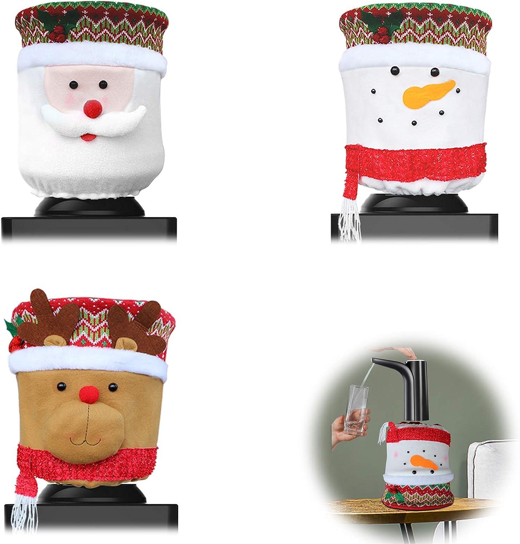 MNKXL 3 Pack Christmas Water Dispenser Cover Elk/Snowman/Santa Claus Dust Cover for 5 Gallon Bottle Water Cooler Dispenser Reusable Christmas Decorations for Home Office Water Dispenser