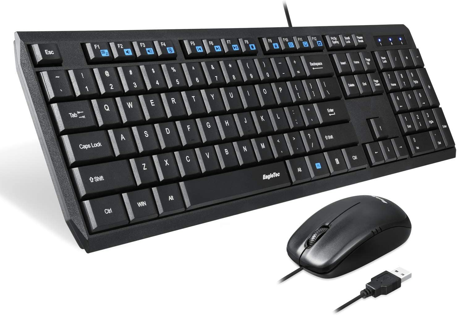 Eagletec KM120 Wired Keyboard and Mouse Combo Slim, Flat & Quiet, Ergonomic Full Size 104 Keys Keyboard & Small Portable Mouse for Windows PC (Black Wired Keyboard & Mouse Set)