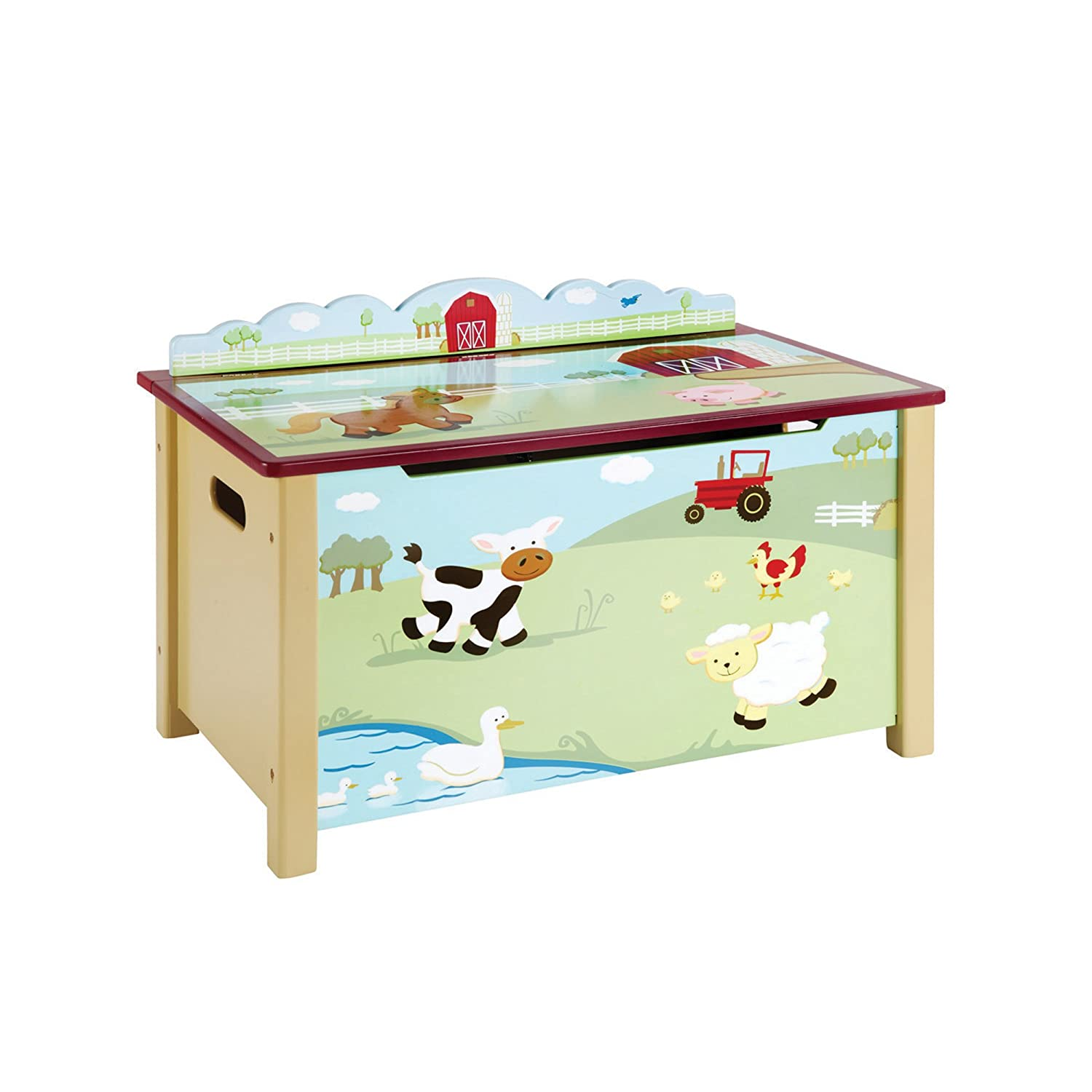 18bebf3cdfe9 Amazon.com  Guidecraft Wood Hand-painted Farm Friends Toy Box Storage Chest  - Kid s Room Furniture  Baby
