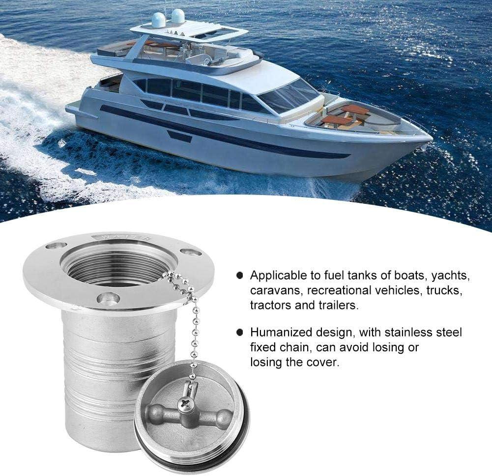 38mm//1.5in Tapa del tanque de gas del barco embudo de la cubierta de acero inoxidable Llenado de entrada de aceite de agua Cubierta del tanque de combustible de gas del barco Accesorios de hardware